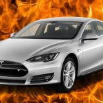 Tesla Model S car exploded in the parking lot, damaging nearby cars