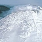 Near the Antarctic, a very rare type of volcano was found. What is its feature?