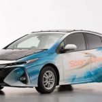 Toyota car covered with solar panels and charged on the go
